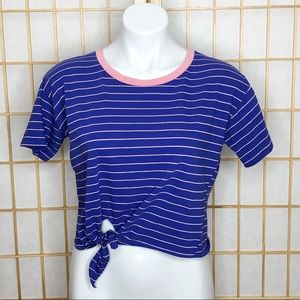 Charlotte Russe Striped Tie Front Crop Top